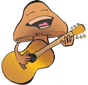 Cartoon Mushroom Playing Guitar